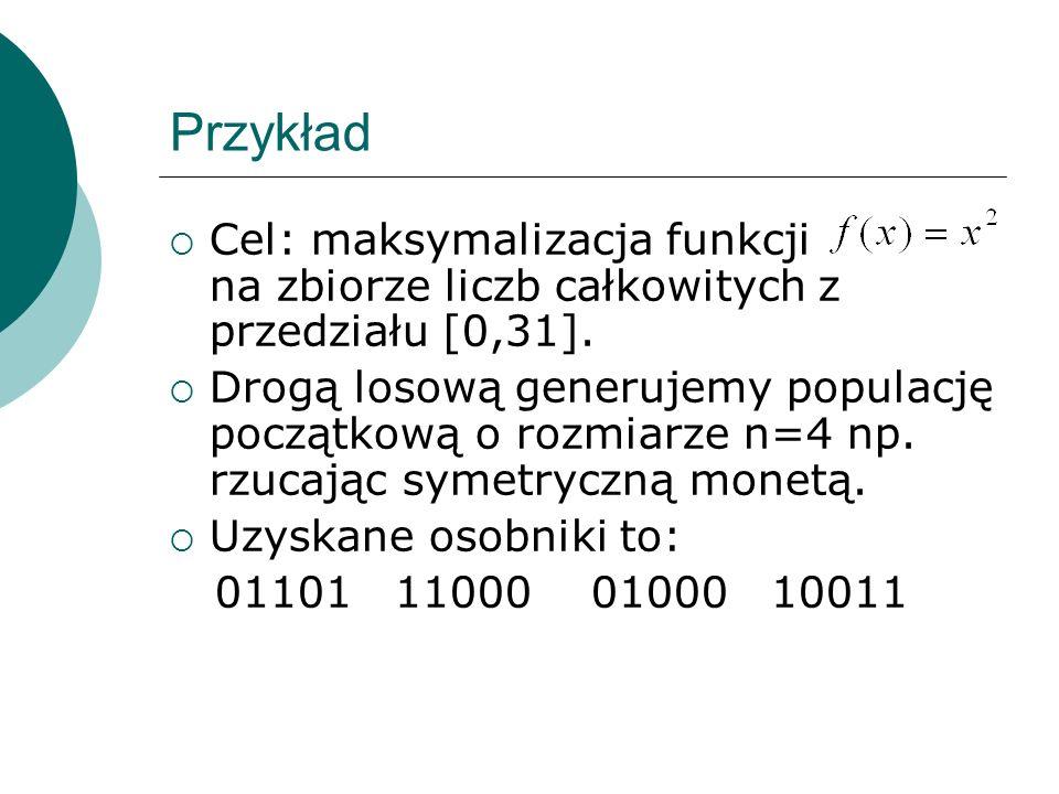 Przykład Cel: maksymalizacja funkcji na zbiorze liczb całkowitych z przedziału [0,31].
